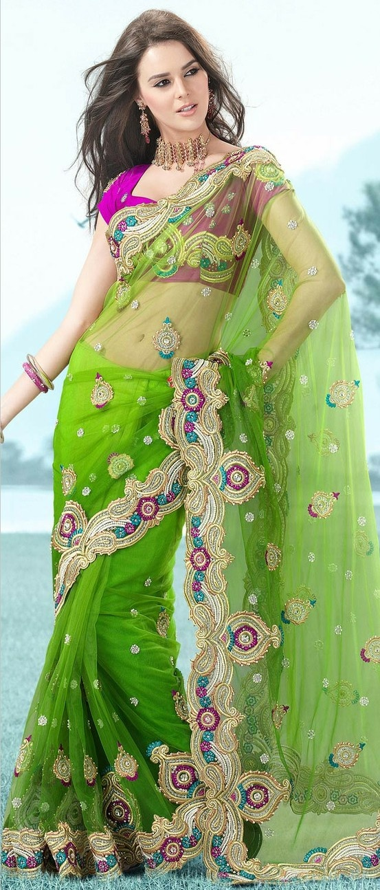 Shaded Pista #Green Net #Saree With Blouse @ $188.37