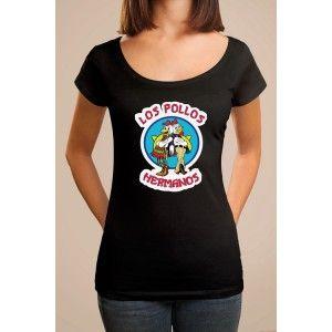 T-shirt noir coupe homme et femme, tiré de la série Breaking Bad - Los Pollos Hermanos. Tee shirt manches courtes et col rond, avec le logo du célèbre restaurant de Fring. T shirt original pour un cadeau geek !