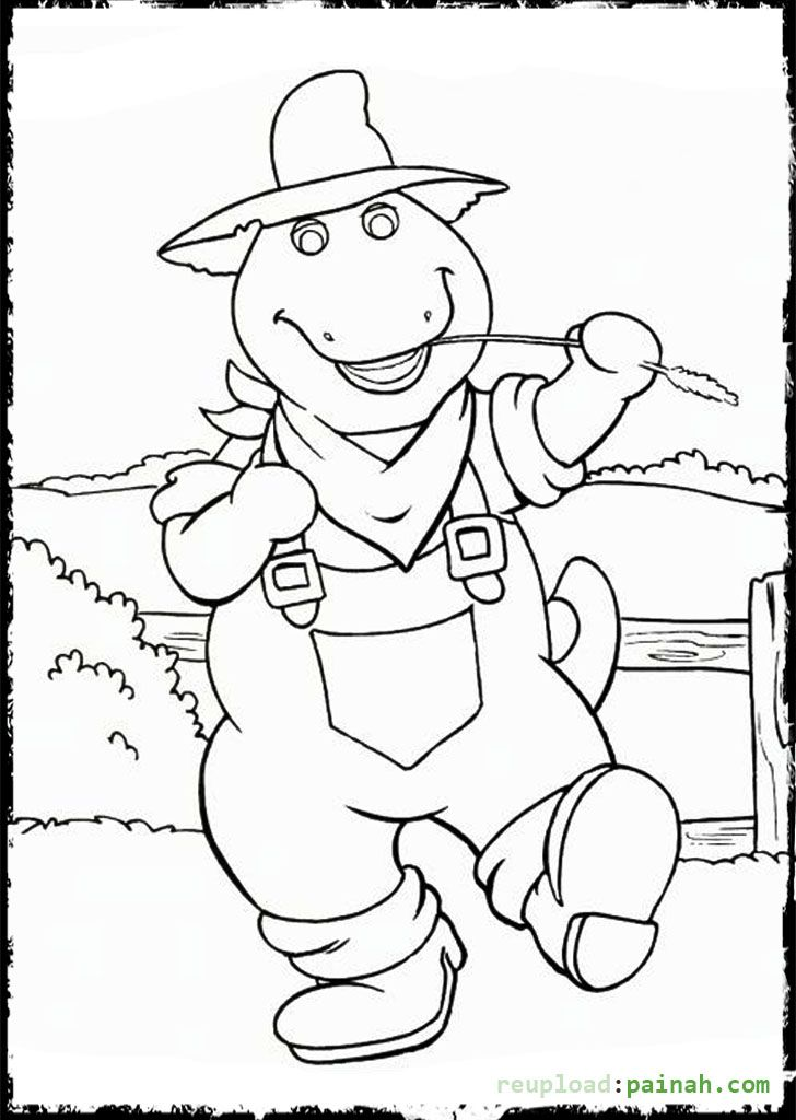 barney coloring pages printable cowboy