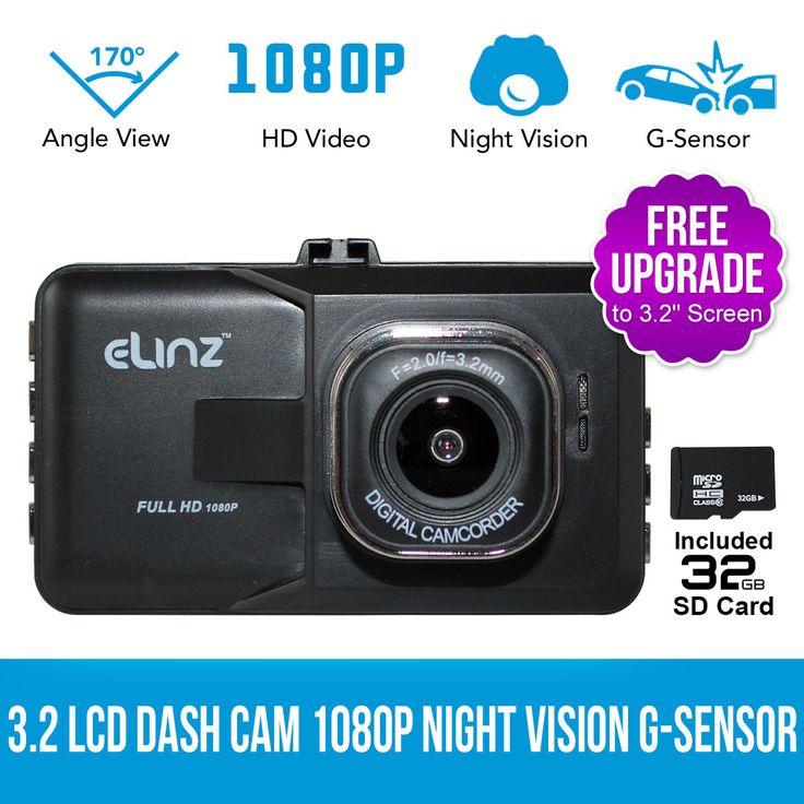 3.2 inch LCD Dash Camera Cam Video Car DVR Recorder 1080P HD Night Vision 32GB
