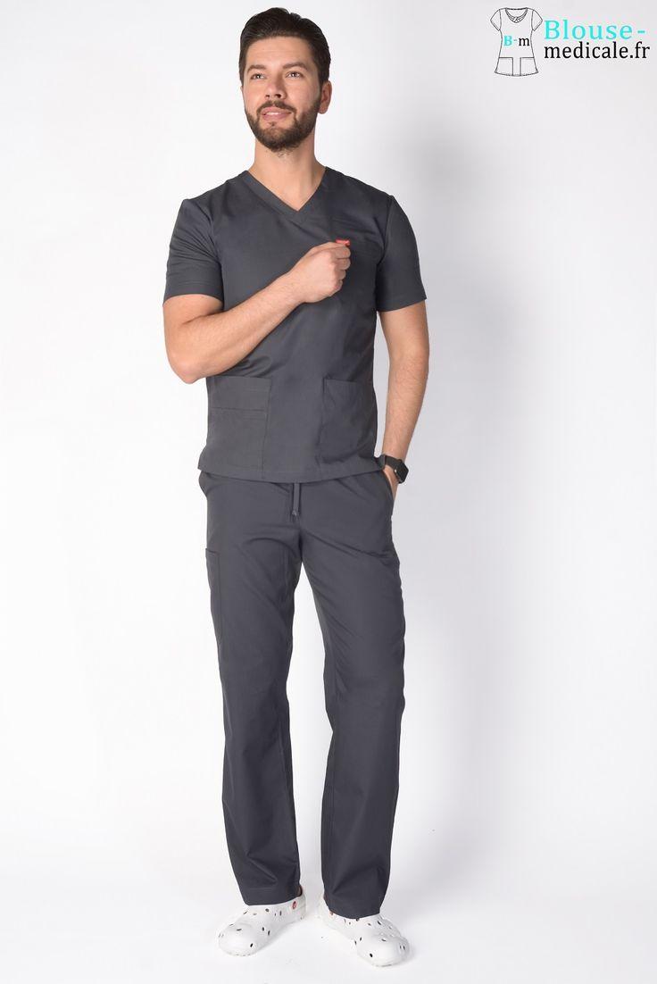 tenue médicale unisexe Orange gris anthracite