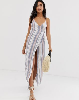 efbd9b95e0 DESIGN Woven Stripe V Wrap Maxi Beach Dress   Travel I   Beach ...