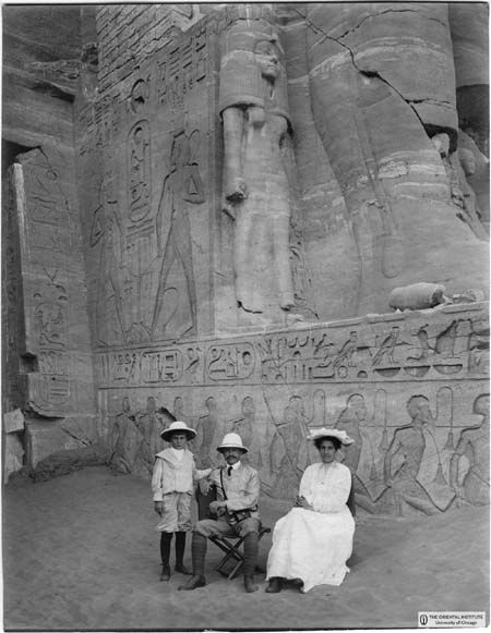 This is at Abu Simbel. I've been there! Lost Nubia. James Henry Breasted, his wife the concert pianist Frances Hart and their son Charles (1906). Breasted was the author of the first scholarly History of Egypt in the English language, and he published in 1906 in five volumes the English translations of all the hieroglyphic inscriptions known at that time, a manual still today in use among Egyptologists.