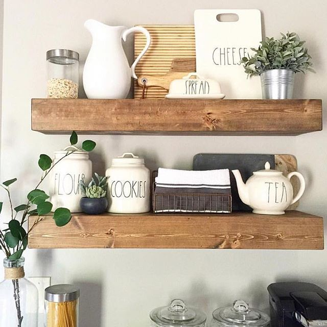 Super cute version of our shanty floating shelves by @melissa_glenn ❤️ Free plans to build your own are on our site!  Way to go girly! #shanty2chic #hgtv #OpenConcept