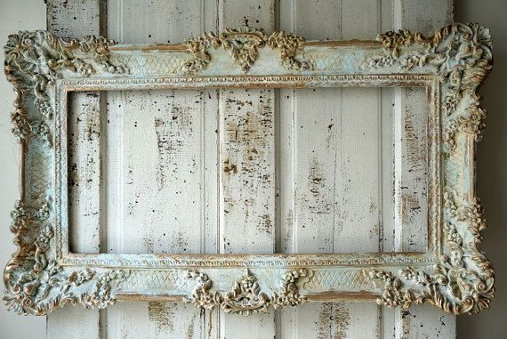 Ornate picture frame wall hanging shabby cottage chic distressed faded blues white French European inspired home decor anita spero design