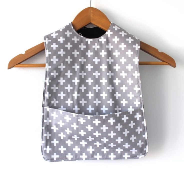 Grey with White Cross Extra Long Bib