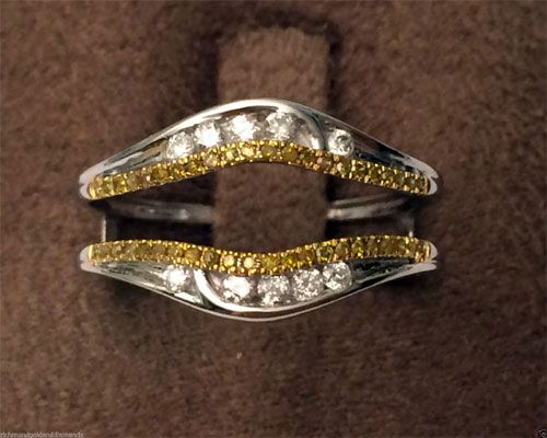 14k White Gold Solitaire Enhancer Canary Yellow Diamonds Ring Guard Wrap Jacket by RG&D