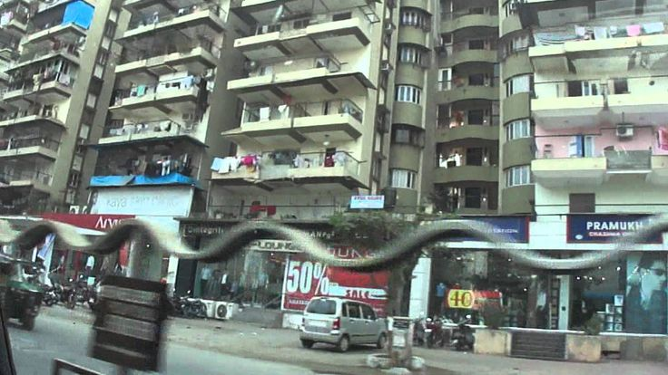 Driving  through Surat City on Ring Road to Ghod Dod Road, Gujarat, Ind...
