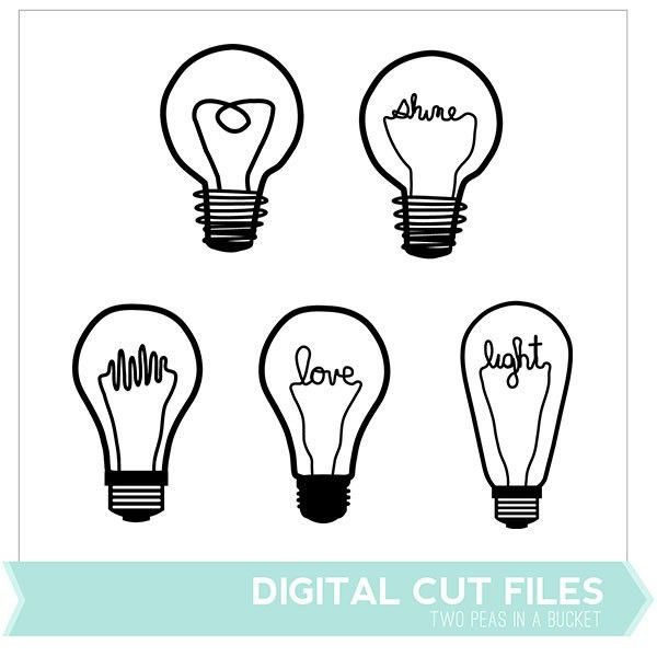 Lightbulbs Digital Cut Files - Two Peas in a Bucket