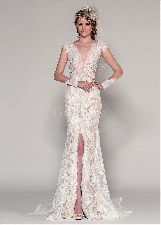 Robe de mariée sirene manche longue naturel tulle - photo 1
