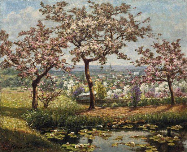 "Анри Бива (Henri Biva, 23 января 1848 – 2 февраля 1929) – французский художник-реалист, мастер летнего пейзажа. ""Цветущий сад"""