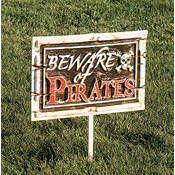 Plastic Beware of Pirates Yard Sign