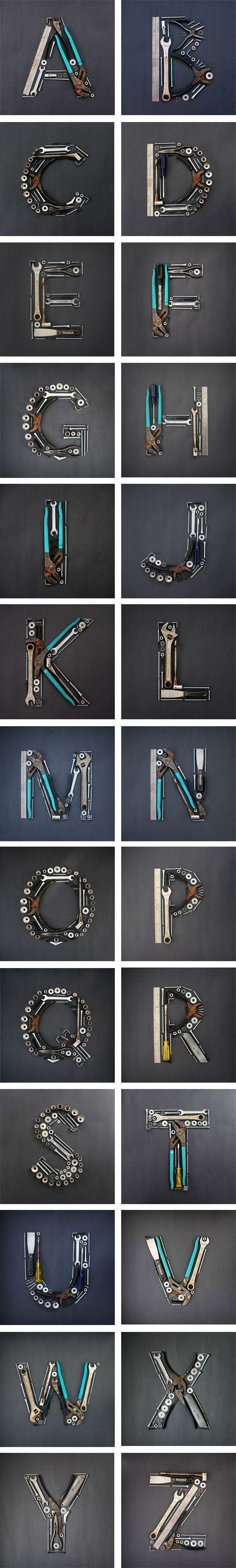I love finding on-going projects that I discover right when they start—to see the progression and look forward to each day's post. This happened with the Tooling Around project by Joseph Alessio, who created this awesome A to Z experimental project with tools. Check out the entire alphabet below—cool, right?