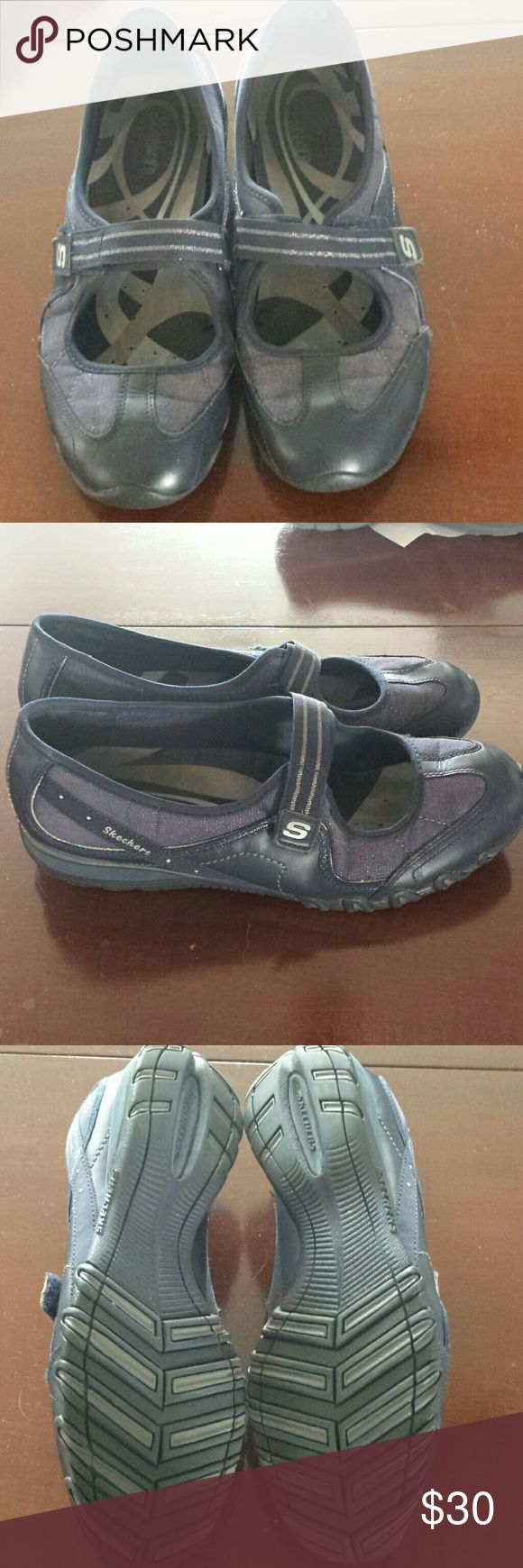 Skechers women's navy Women's Navy Skechers.  Mary Jane style. Velcro closure. Navy leather with textile upper.  Excellent condition. Worn just a few times. Skechers Shoes Athletic Shoes