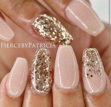 The 25 best ideas about coffin nail designs on pinterest - Nageldesign beige gold ...