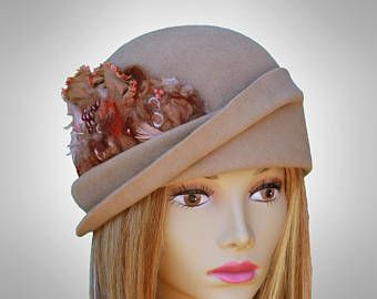 Vanessa, Fur Felt Velour Cloche, millinery hat, Downton Abbey era, camel color, with silk cocoon embellishment