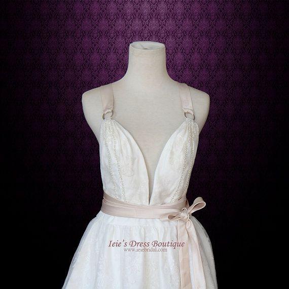 Grecian Boho V Neck Goddess Wedding Dress with Cross Back by ieie