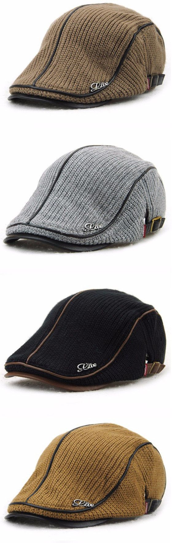 Men Women Knitting Beret Caps Newsboy Buckle Adjustable Casual Outdoors Peaked Hat
