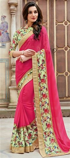 721586 Green, Pink and Majenta  color family Party Wear Sarees, Printed Sarees in Faux Georgette fabric with Lace, Printed, Stone, Thread, Zari work   with matching unstitched blouse.