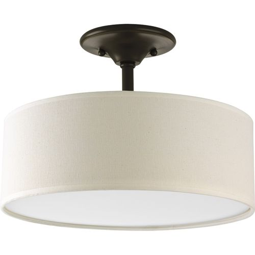 Antique Bronze Semi-Flush Mount Ceiling Light w/ Round Drum Shade