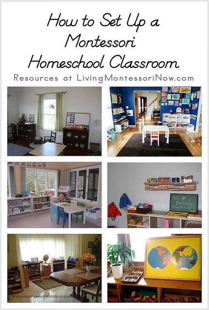 How to Set Up a Montessori Homeschool Classroom -- pictures and tours of other home classrooms.