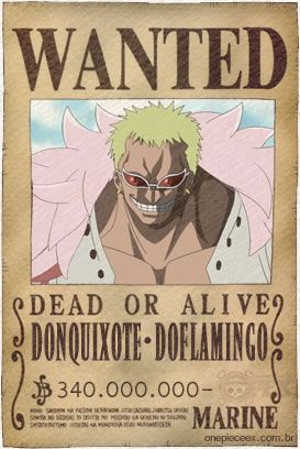 Doflamingo wanted one piece pinterest - One piece wanted poster ...