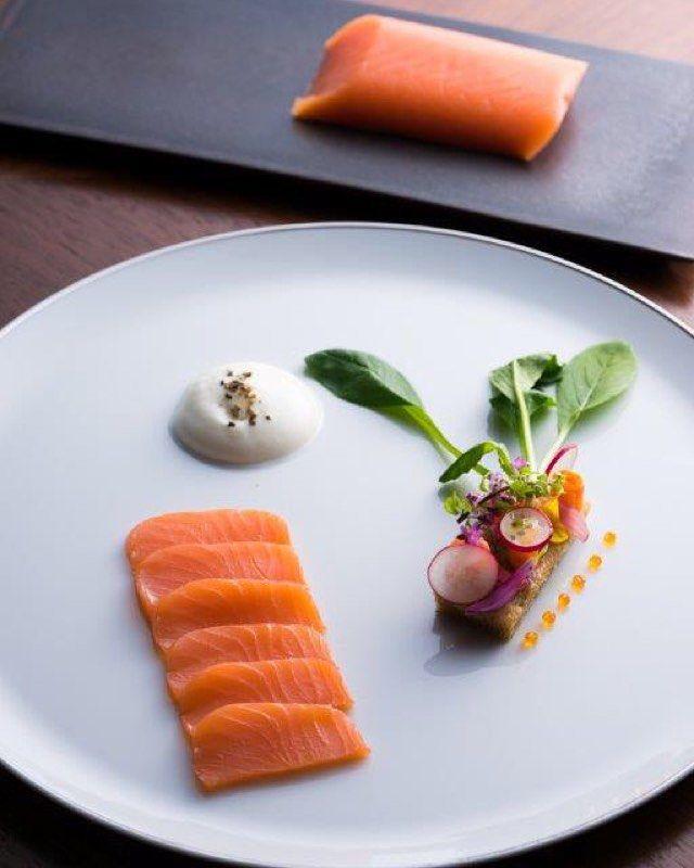 Marinated Balik Salmon #ritzcarlton #ritzcarltonkyoto #ristoranteitaliano…