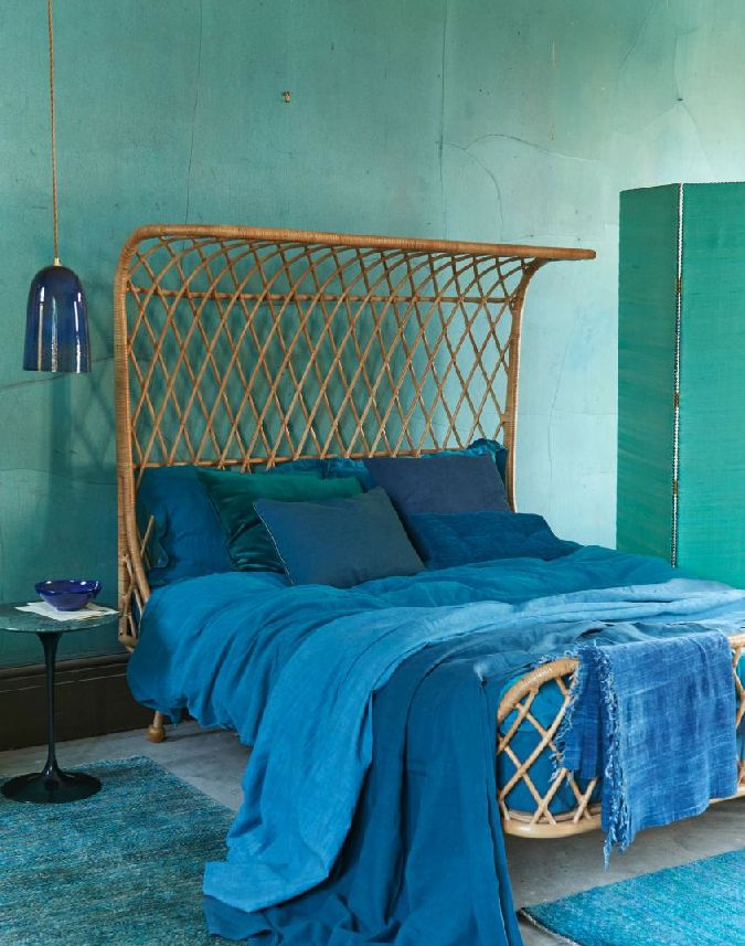 Green and Blue Interiors | Green and Blue Bedroom | Wicker Bed | Bamboo Headboard | Tropical Bedroom | Inspiration for Livingetc Topics decorating feature | March 2016