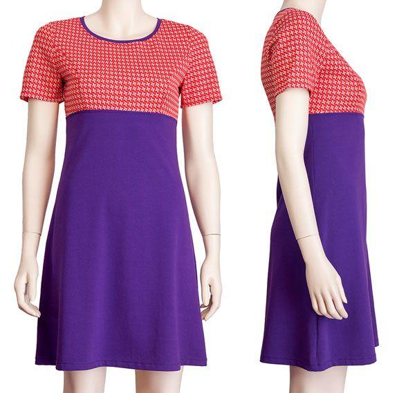 A-lijn jurkje Emma met hoge empire taille, paarse katoenen tricot + rode vintage stof. Pop Rok