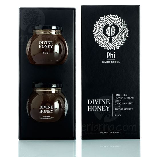 Thyme honey brought to you from Greek islands and Pine honey infused with the therapeutic Chios mastic.
