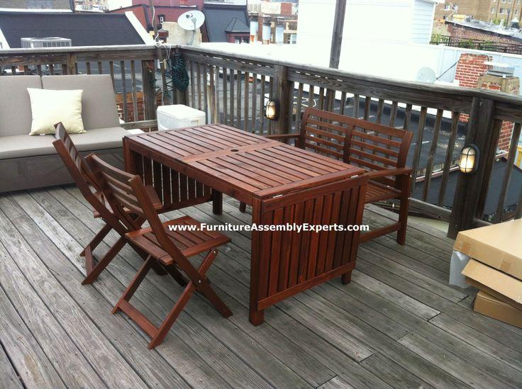 ikea applaro patio table bench and 2