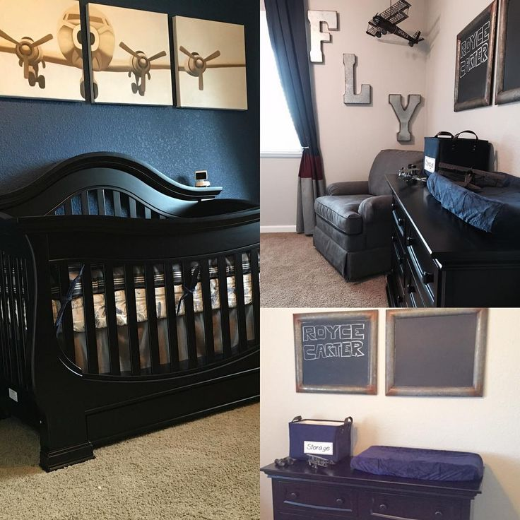 Obsessed over my baby boys room 👶🏽💙💚 #restorationhardware #restorationhardwarebaby #baby #boy #decor #room #planes #vintage #airplane #cool #blue #grey #potterybarnkids #potterybarn #buybuybaby #rosevilleca #roseville