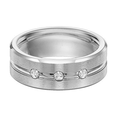 Zales: Triton Men's 1/7 CT. T.W. Diamond Three Stone Comfort .....Fit Center Groove Cobalt Wedding Band......This is the one