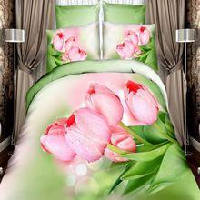 3D реактивной печатных свет розовые розы цветок постельного белья 4 шт. 100% хлопок королева размер одеяло пододеяльник покрывала постельное белье одеяла(China (Mainland))