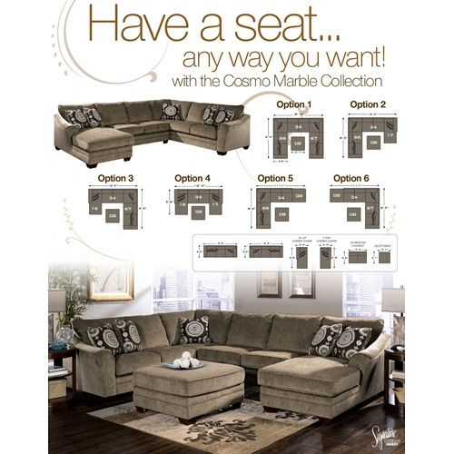 Cosmo - Marble Sectional Sofa with Chaise Lounger by Signature Design by Ashley Furniture - Samu0027s  sc 1 st  Pinterest : ashley furniture patola park sectional - Sectionals, Sofas & Couches