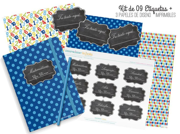 Back to School Numbers Kit  for beautiful notebook covers / 3 Digital Design Papers + 9 Chalkboard Labels (editable text) by ImprimeTuFiesta on Etsy https://www.etsy.com/listing/223324957/back-to-school-numbers-kit-for-beautiful