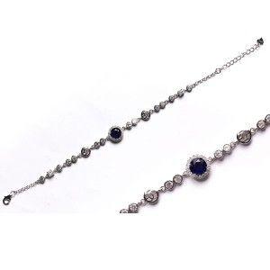 Mavi taş süslemeli, 925 ayar gümüş bayan bileklik