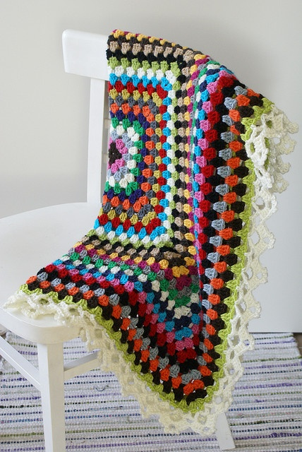 Inspiration~Giant granny square blanket. The edging makes a huge difference.