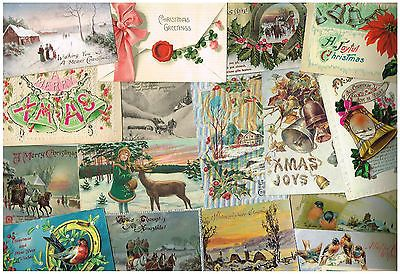 OLD GREETINGS POSTCARDS CHRISTMAS NEW YEAR VINTAGE BULK LOT OF 50 C.1910 - 1930S