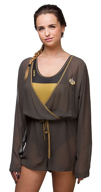 This Star Trek:TNG Cover-Up Romper is perfect. It's our subtle nod to TNG. It's perfect for layering at a festival or throwing over your suit when you're sitting by the pool because you need a break from the con.