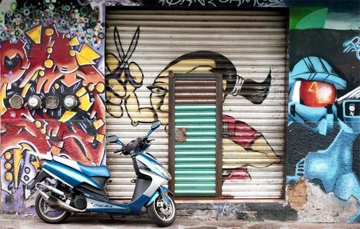 Mexico City Scooter and Street Art, Street Photography