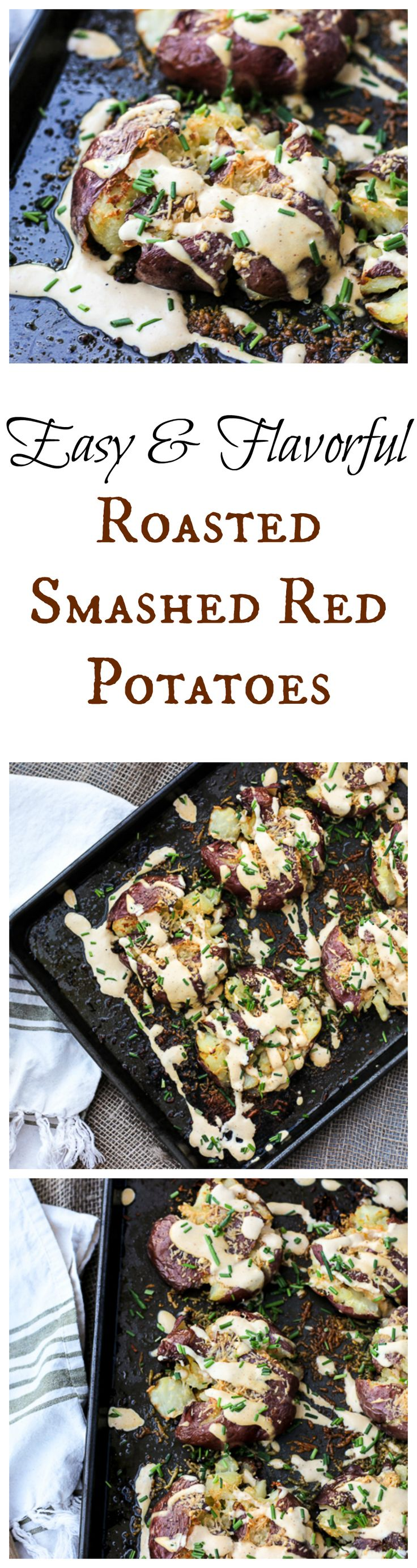 Jeff Mauro's Smashed then Roasted Red Potatoes with Zesty Mustard Cream and Fresh Chives. This is SO good, SO flavorful.