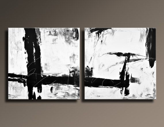 extra large abstract painting black white gray set of original canvas art modern art x wall decor unstretched wbs