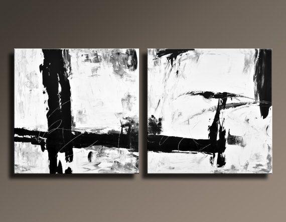PINTURA abstracta grande extra negro blanco gris Set de 2