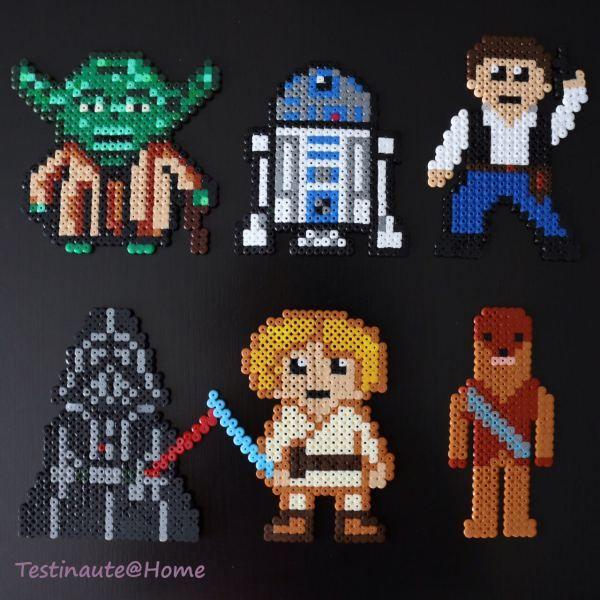 Yoda, Luke skywalker, Dark Vador, R2D2, Han Solo, Chewbacca, tous les modèles des personnages Star wars en perles à repasser Hama (free hama beads pattern)