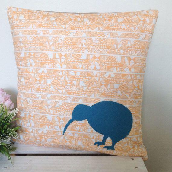 Cushion Cover Peach Geometric Pattern Fabric by natandalicreative