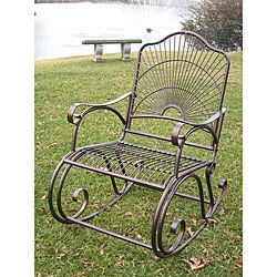 @Overstock.com - Sun Ray Iron Rocker - Once you see this traditional iron rocker, you will want to spend every day sitting outside. The bold sun pattern on the back of the chair adds a decorative touch, and the hammered copper finish will mesh with any other outdoor furniture you have.  http://www.overstock.com/Home-Garden/Sun-Ray-Iron-Rocker/2683691/product.html?CID=214117 $146.99