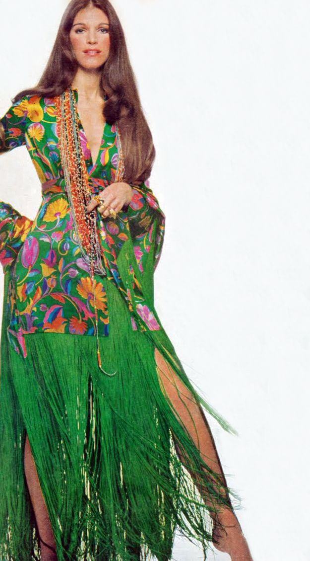 Vogue September 1969 vintage fashions style late 60s early 70s green floral silk dress fringe ...