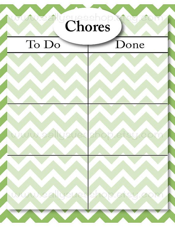 Classic Chevron Designed Chore Chart/Reward Chart. Color: GREEN  TWO DOWNLOADS: One with just two columns. One with boxes to separate morning/afternoon/evening or a rewards section or behavior section.  TYPE YOUR OWN NAME/TEXT!  *simple and attractive, easy to follow. What do I get in this listing? >>TWO 8.5x11 editable high resolution .PDF files   How do I use this chart? >>Simply open your files in the free program Adobe Acrobat or Adobe Reader and edit the n...