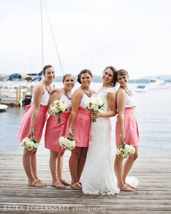 Wedding at Wolfeboro Inn/ coral bridesmaid skirt